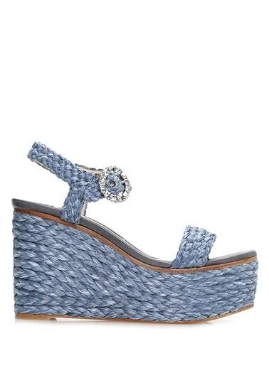 Jimmy Choo Dolgu Topuklu Sandalet Mavi